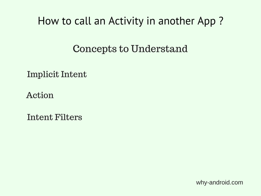 Android Basics – Call an Activity in another App using Implicit Intent